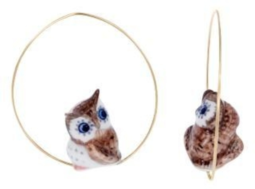 Nach Bleu Eyed Owl Earrings Jewelry