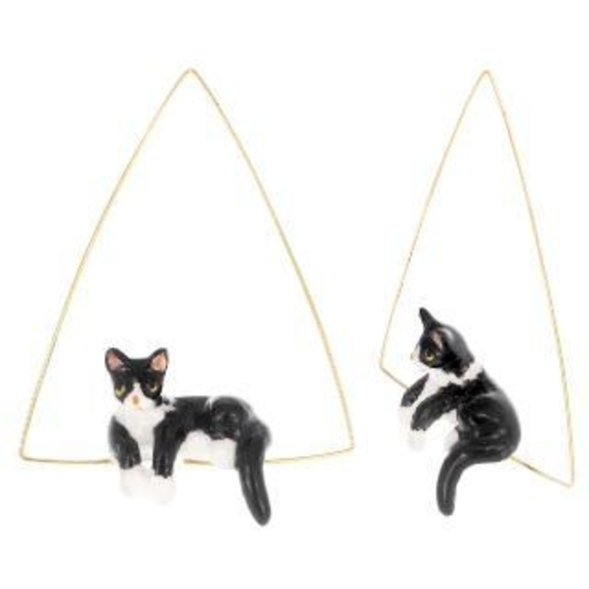 Nach Lying B&W Cat Triangle Earrings Jewelry
