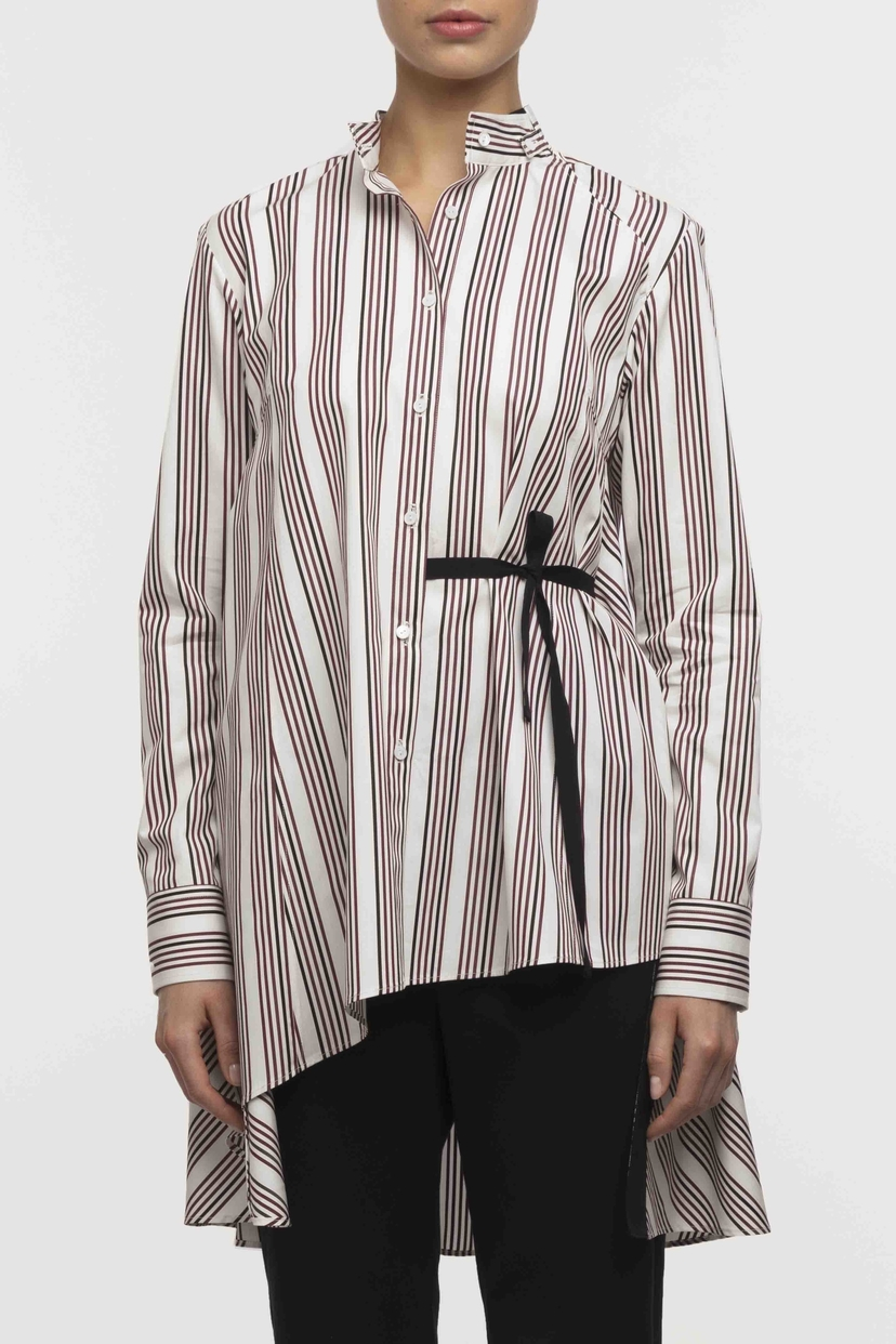 Palmer//Harding Split Shirt - Satin Berry Stripe Tops