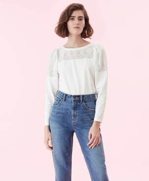 Rebecca Taylor Eyelet Yoke Top Tops