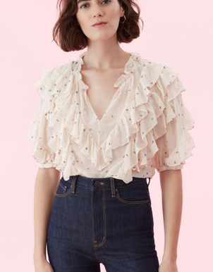 Rebecca Taylor Ruffle Blouse Tops