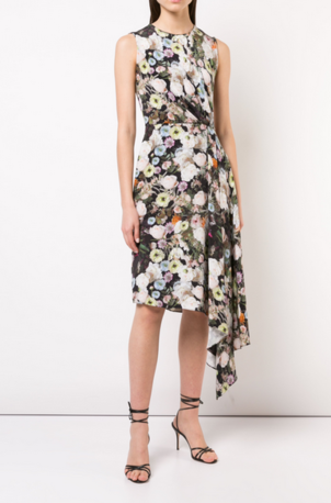 Adam Lippes PRINTED SILK CREPE DRAPED SLEEVELESS DRESS Dresses