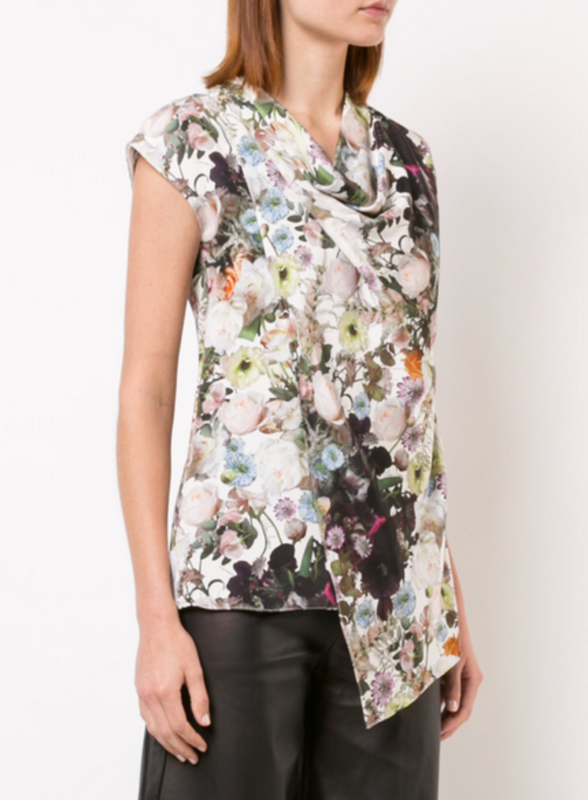 Adam Lippes PRINTED SILK CREPE COWL NECK TOP Tops