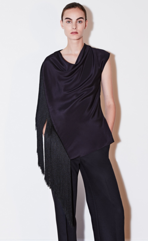 Adam Lippes SILK CREPE COWL NECK TOP WITH FRINGE Tops