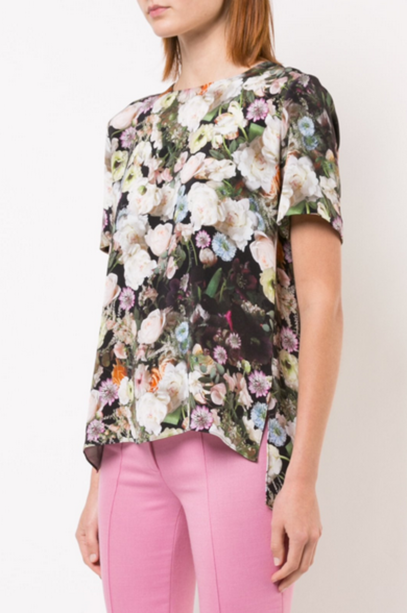 Adam Lippes PRINTED SILK CREPE T-SHIRT Tops