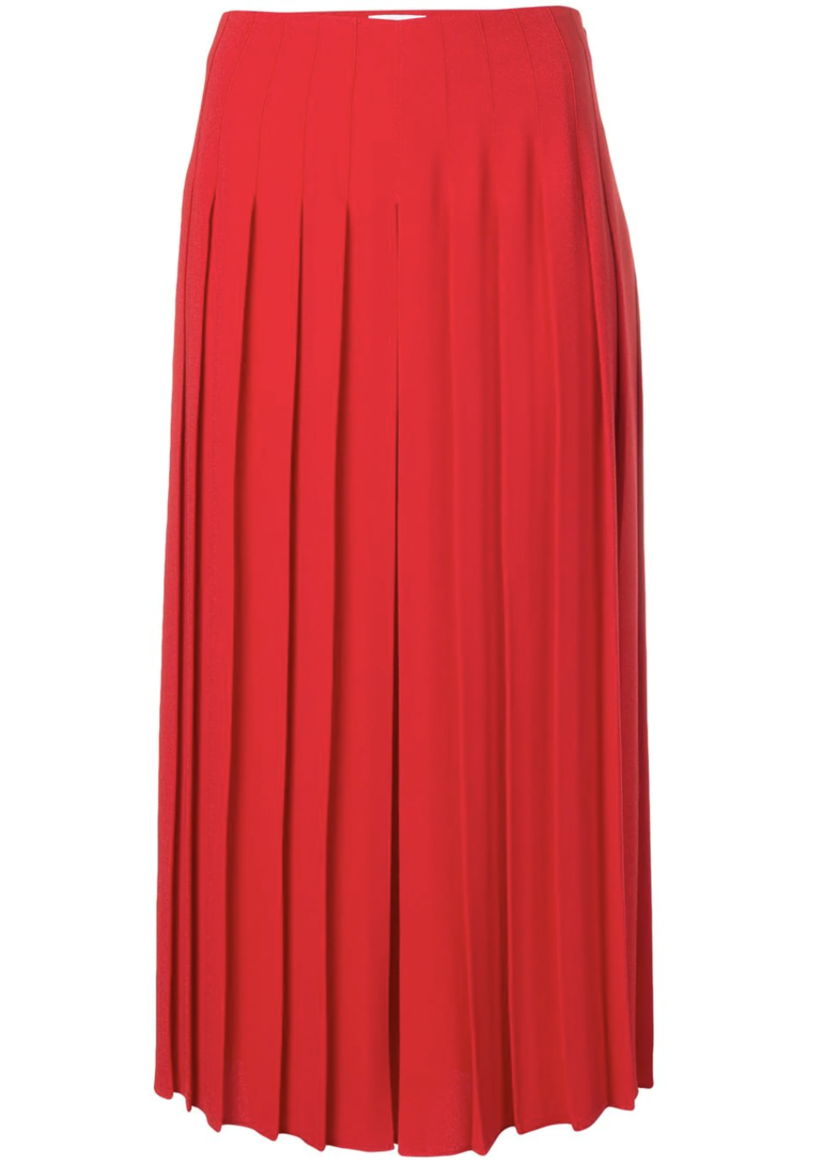 Sonia Rykiel Red Pleated Midi Culottes Pants