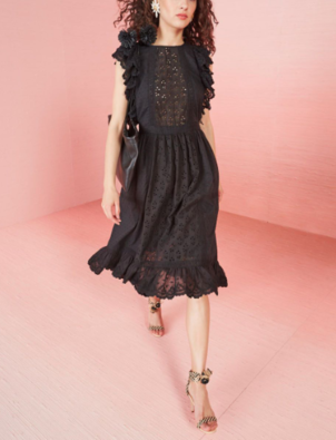 Ulla Johnson Bea Embroidered Cotton Eyelet Ruffle Midi Dress - Black Dresses