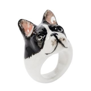 Nach B&W French Bulldog Ring Jewelry