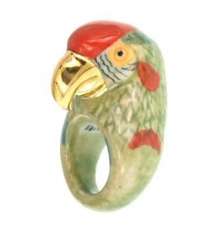 Nach Gold & Green Parrot Ring Jewelry