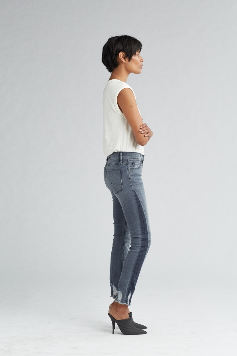 Hudson Tally Midrise Skinny Crop Jean in Shade Off Noir Pants