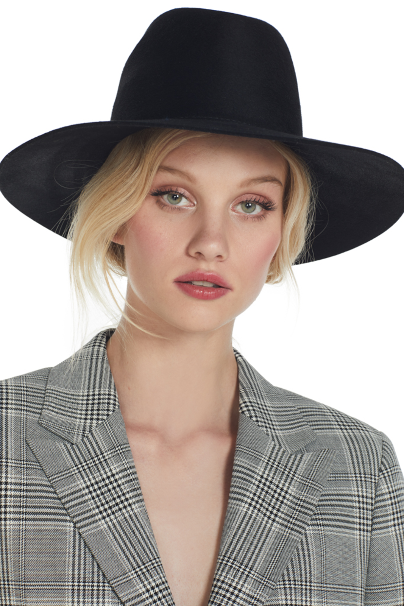 Janessa Leone Trois Wool Hat (Black) Accessories