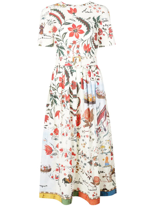 Oscar de la Renta Silk Road Cotton Poplin Dress Dresses