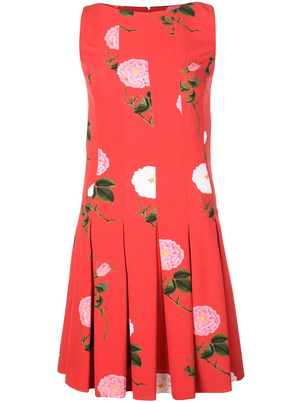Oscar de la Renta Floral Crepe Dress Dresses