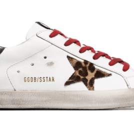 White Superstar Sneakers with Animal Printed Star