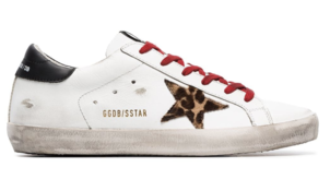 Golden Goose Deluxe Brand White Superstar Sneakers with Animal Printed Star Shoes