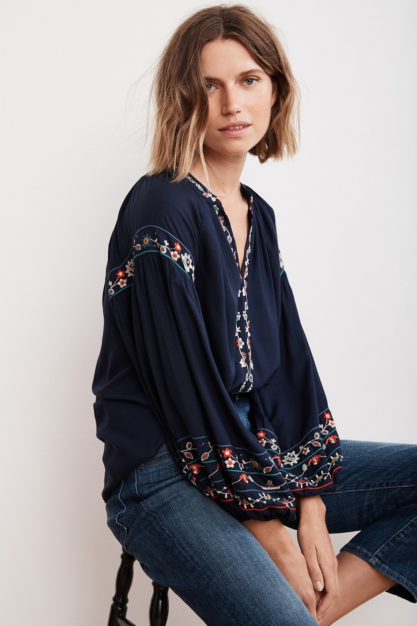 Velvet Carina Floral Embroidered Top Tops