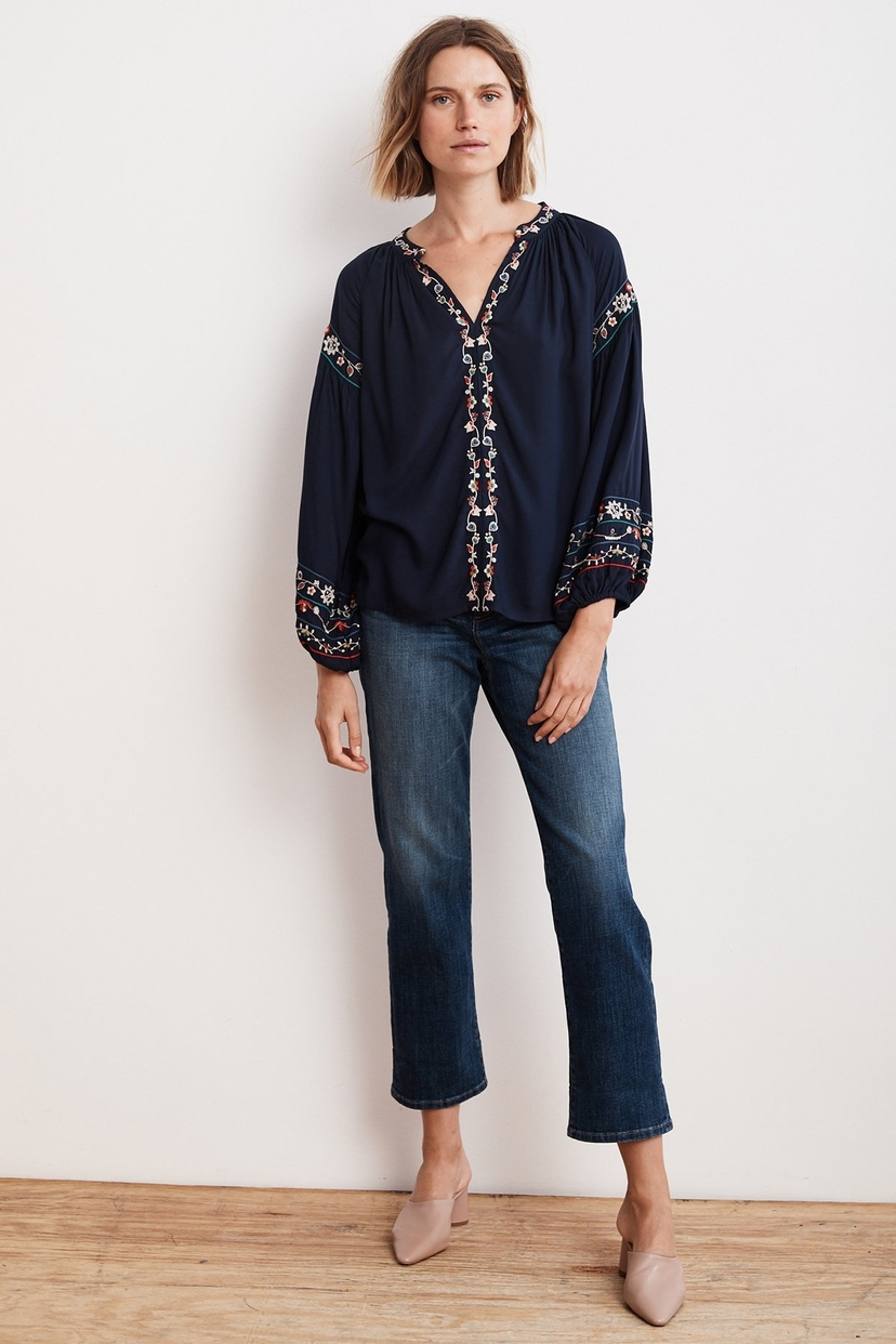 Velvet Carina Floral Embroidered Top Sale Tops