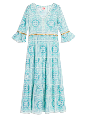 Le Sirenuse Bella Light Green Printed Maxi Dress Dresses