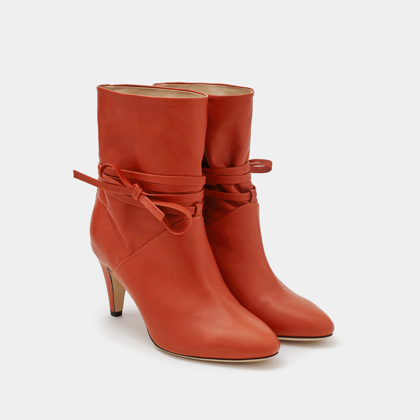 Sclarandis Sclarandis Sonia Tie Boot - Rust Calf Leather Shoes