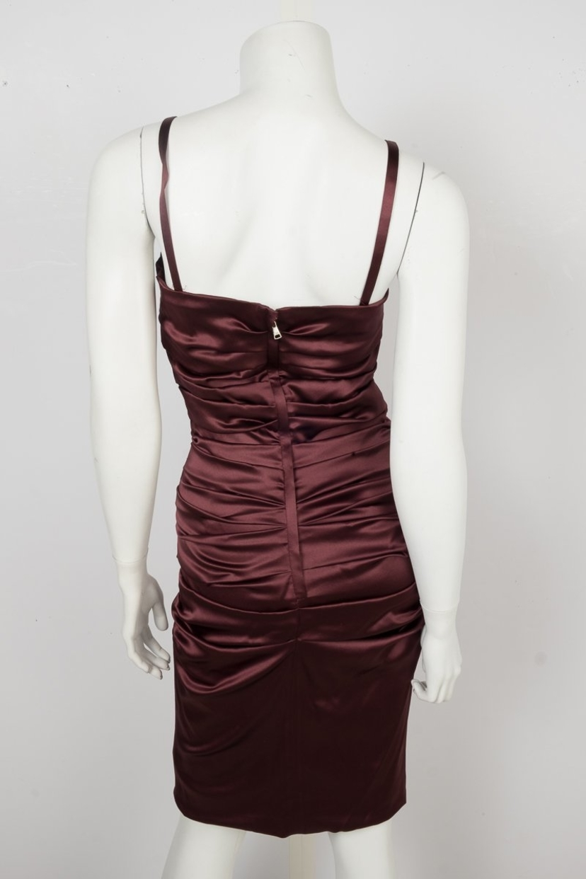 Dolce & Gabbana Dolce & Gabbana Burgundy Rouched Dress Sz 40 Dresses