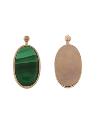 Marla Aaron Marla Aaron Single Oval Lozenge with Malachite and Rose Gold - Rose Gold Jewelry