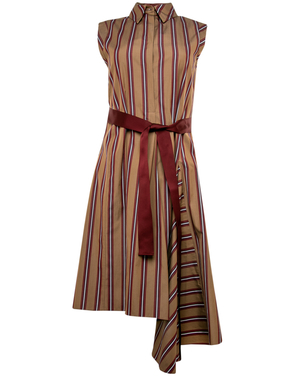 Brunello Cucinelli Brunello Cucinelli Violet Stripped Tie Belt Dress Dresses