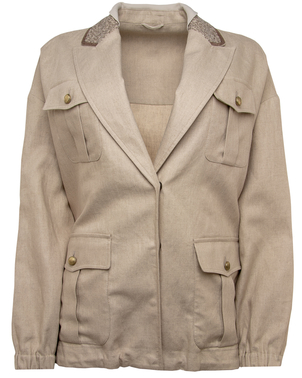 Brunello Cucinelli Brunello Cucinelli Oyster Sequin Collar Jacket Outerwear