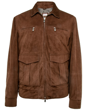 Brunello Cucinelli Brunello Cucinelli Chocolate Suede Bomber Jacket Outerwear