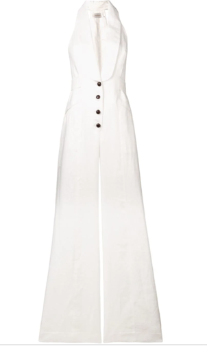 Zimmermann Sleeveless Halter Jumpsuit in Ivory