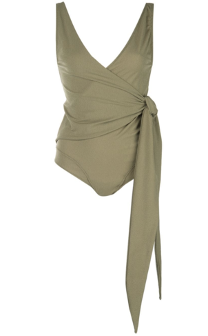Lisa Marie Fernandez Dree Louise Wrap Swimsuit in Olive Green Swimwear