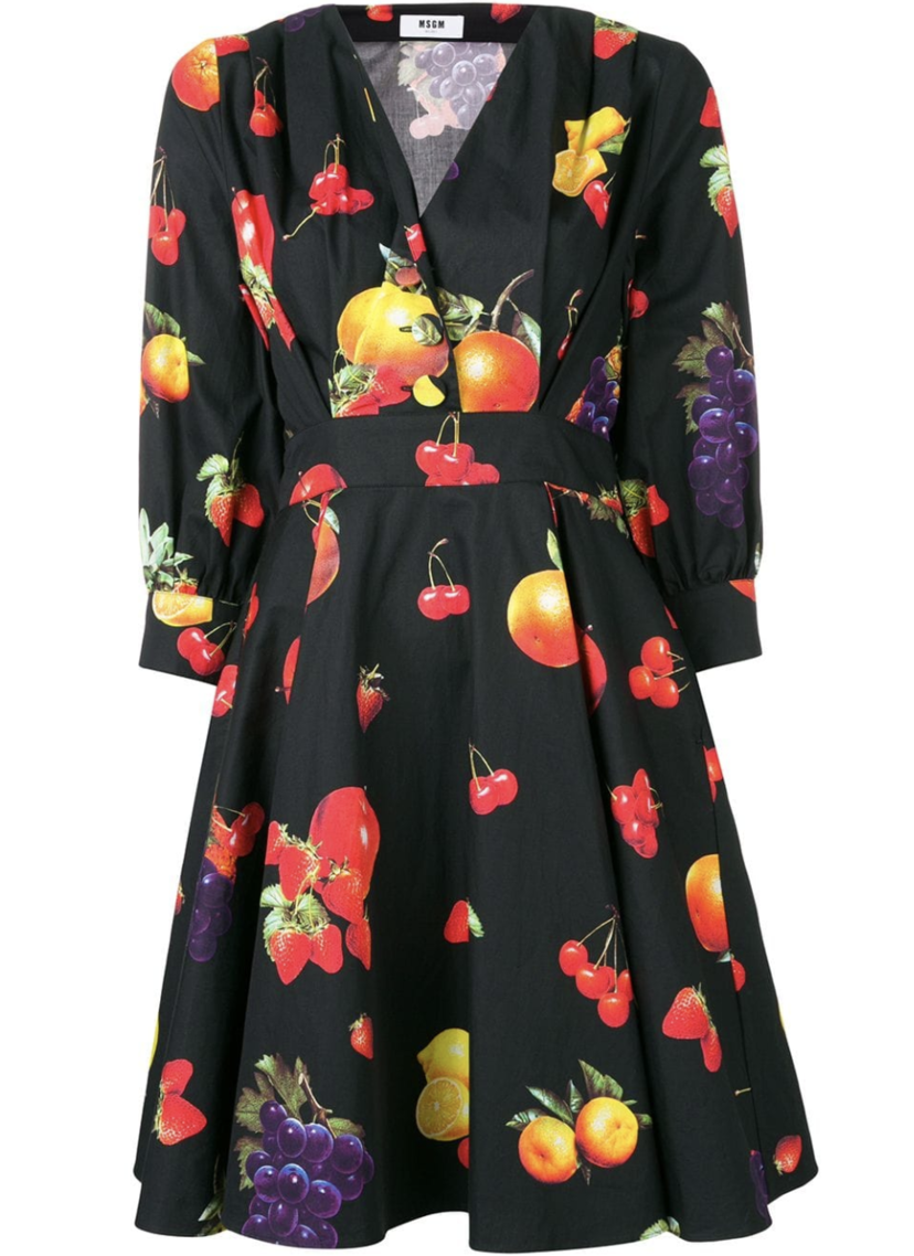 MSGM Black Dress with Multicolored Fruit Dresses