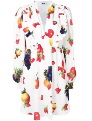 MSGM White Dress with Multicolored Fruit Print Dresses