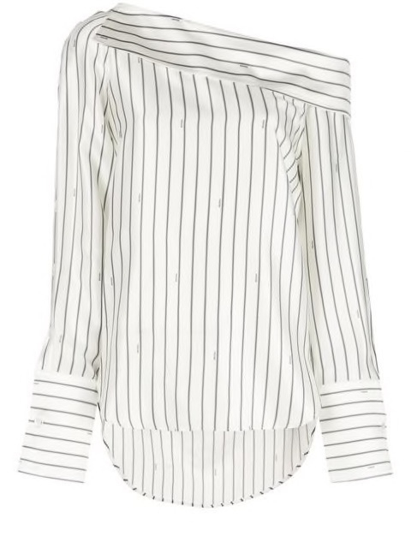 Monse Monse - Off-the-Shoulder Pinstripe Blouse Tops