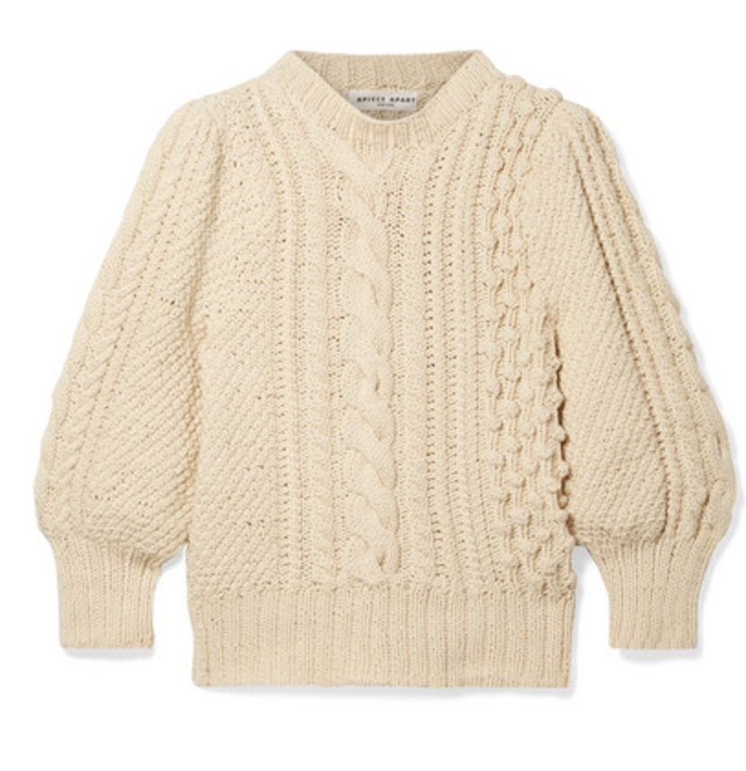 Apiece Apart Ermita Cable Stitch Puff Sleeve Sweater Tops