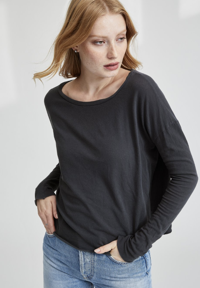 Tee Lab by Frank & Eileen Core Long Sleeve Tee - Carbon Tops