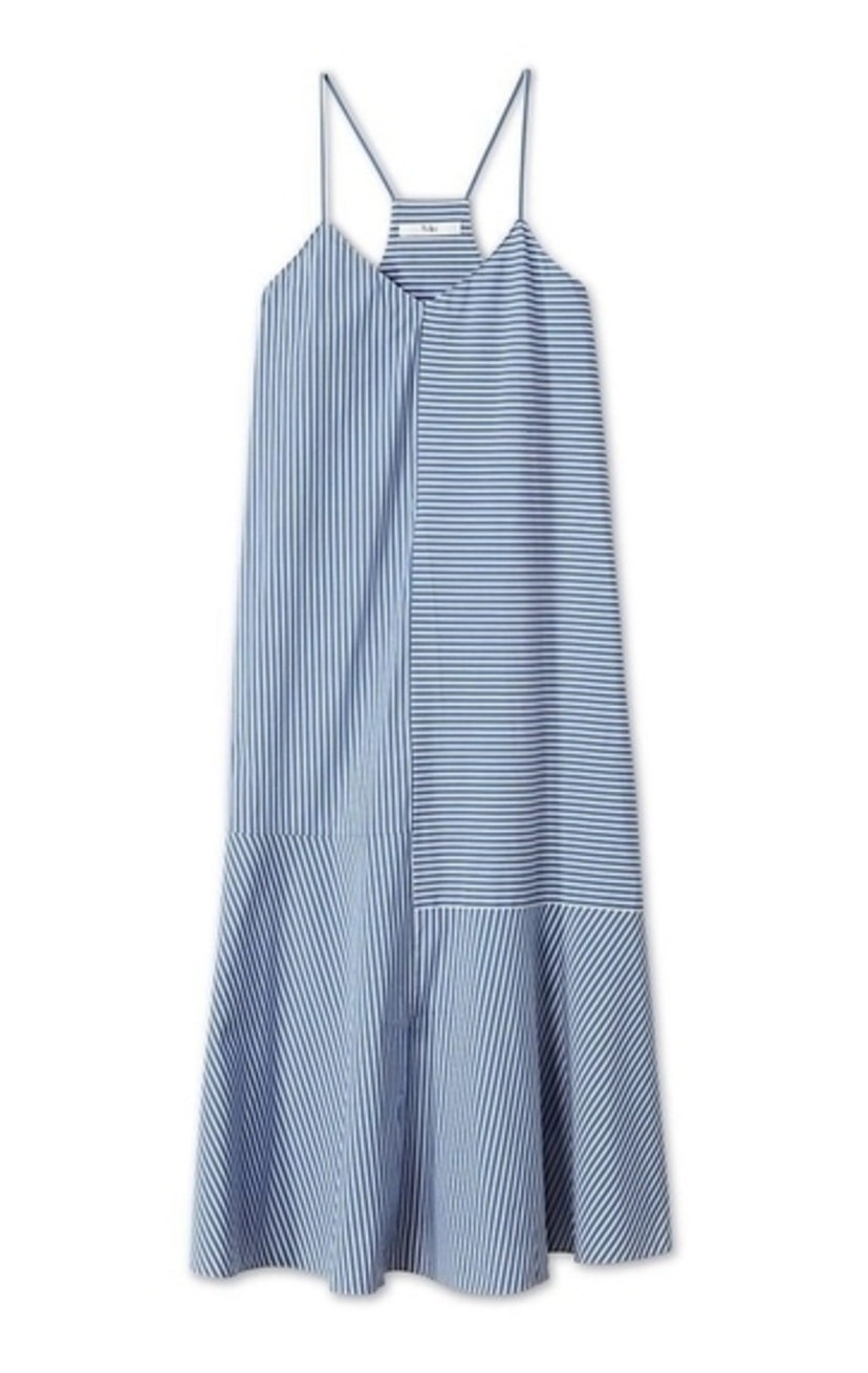 Tibi KAIA STRIPE FLARED LONG CAMI DRESS Dresses