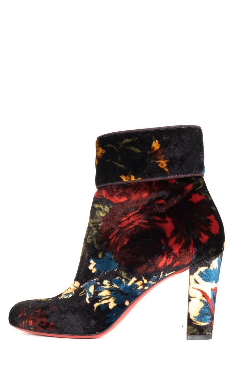 Christian Louboutin Christian Louboutin Dark Navy And Floral Velvet Booties 38 Sale Shoes