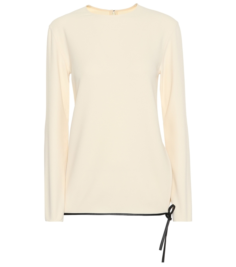 Victoria Beckham Leather Trim Top Tops