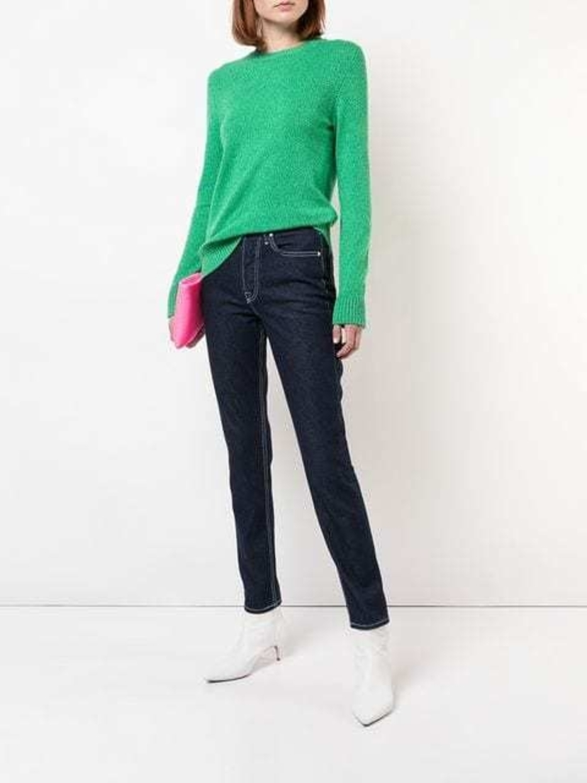 Barrie Cashmere Long Sleeved Sweater in Green Melange Sale Tops