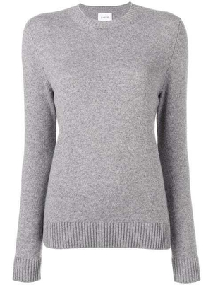 Barrie Barrie Cashmere Grey Long Sleeved Crew Neck Tops