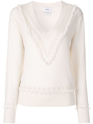 Barrie Barrie Cashmere Romantic Timeless V-neck in Ivory Tops