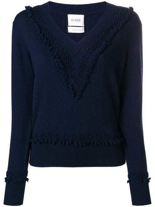 Barrie Barrie Cashmere Romantic Timeless V-neck in Navy Blue Tops