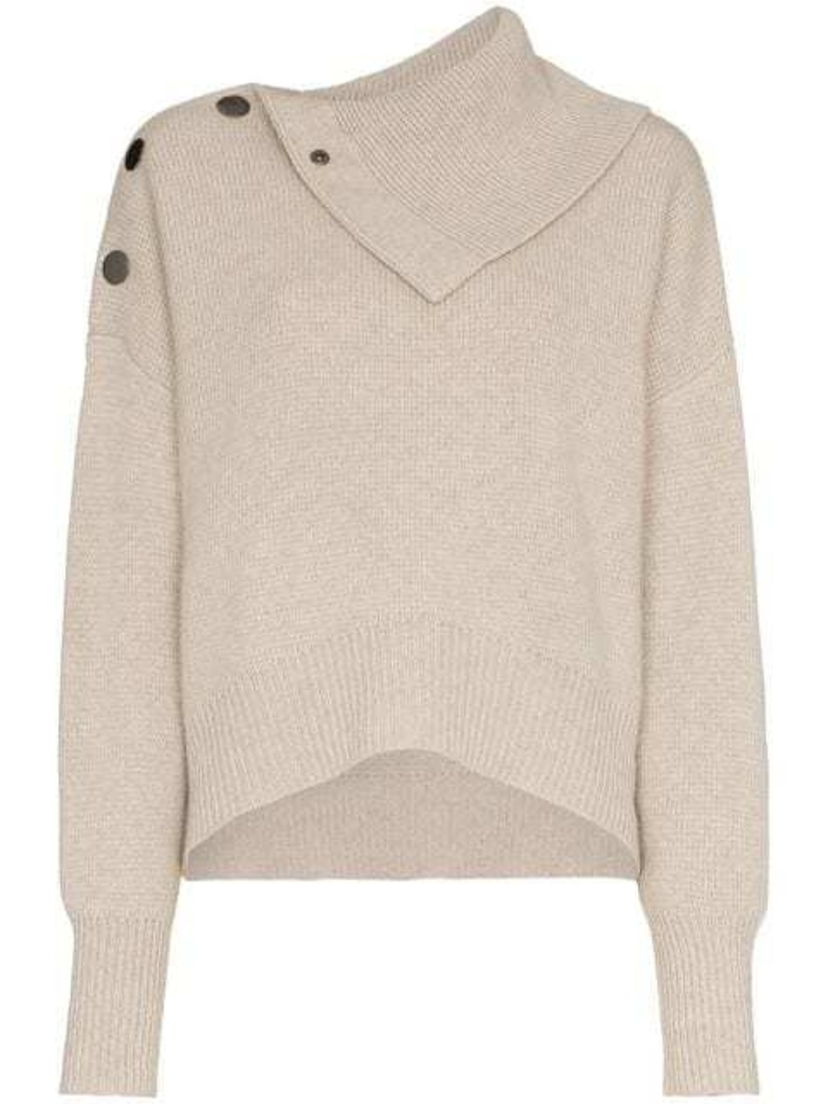 - Knit Buttoned Shoulder Sweater BEI Tops