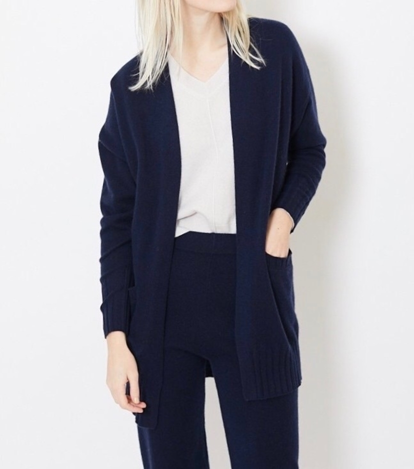 Allude Navy Open Cardigan with Pockets Tops