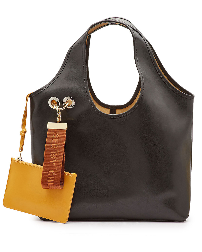 See by Chloé See by Chloé Black Large Tote Bag with Key Chai Bags