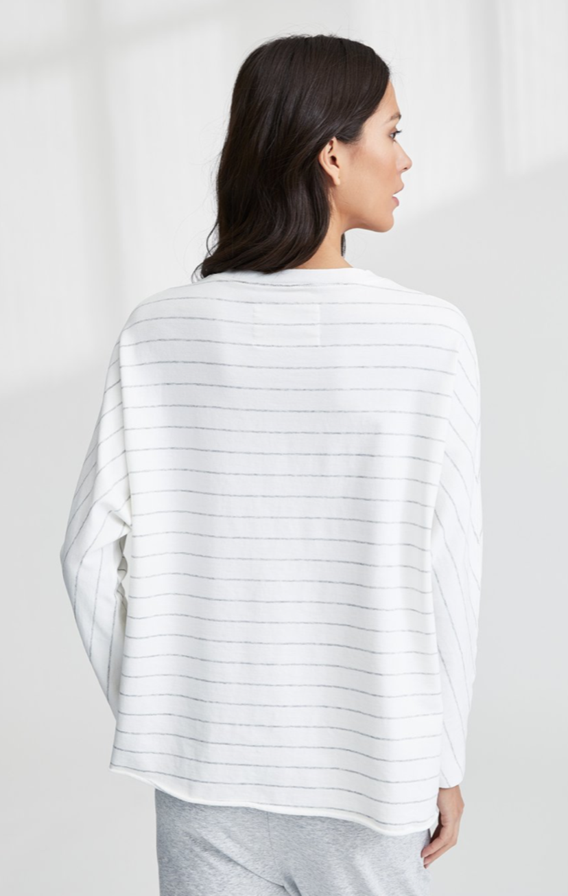 Tee Lab by Frank & Eileen Oversized Continuous Sleeve Sweatshirt - Stripe Tops