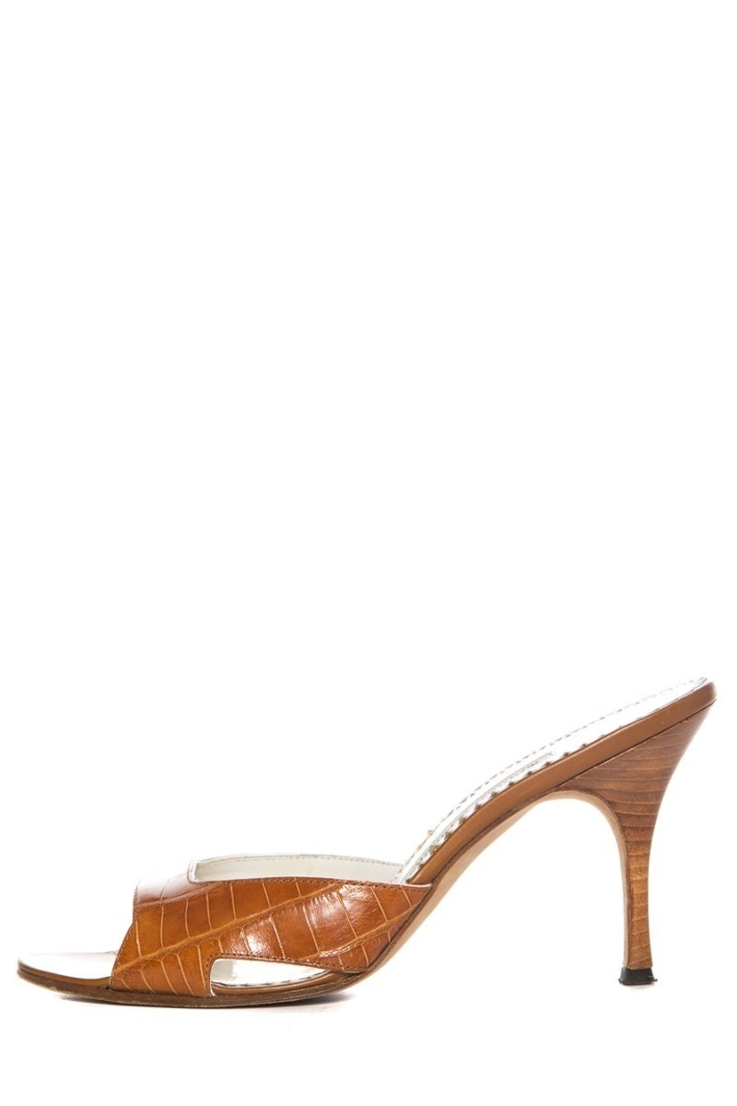 Manolo Blahnik Manolo Blahnik Tan Alligator Open-Toe Mules SZ 37.5 Sale Shoes