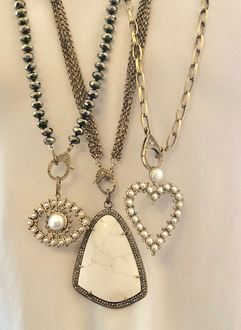 The Woods Fine Jewelry Brass and Pearl Heart Pendant Jewelry