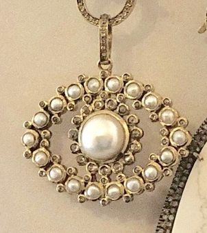The Woods Fine Jewelry Brass and Pearl Eye Pendant Jewelry
