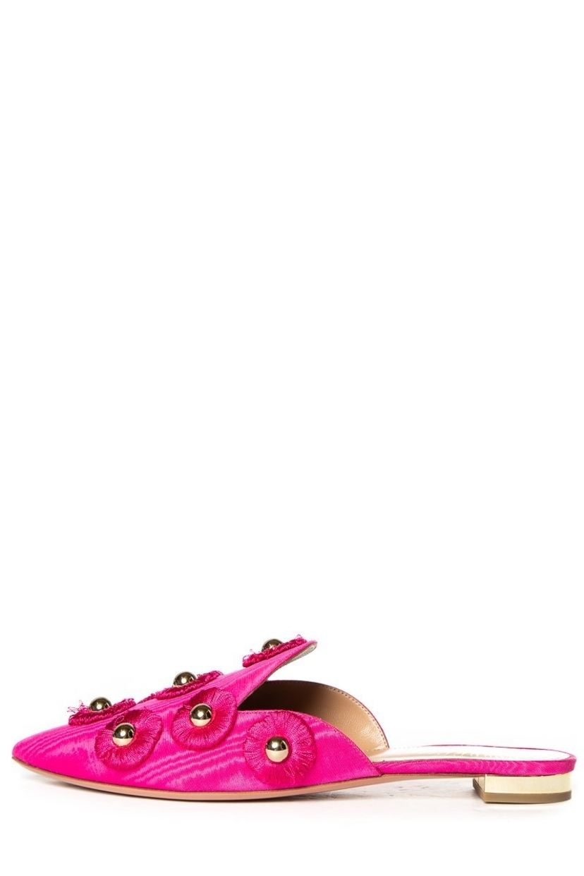 Aquazzura Aquazzura Hot Pink Satin & Studded Mules 39 Sale Shoes